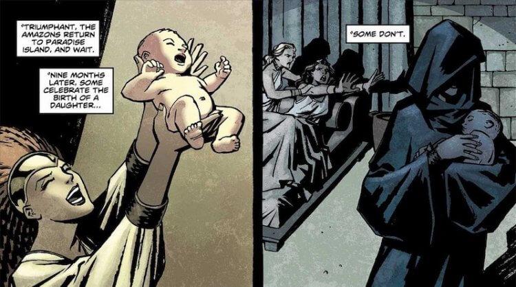 在 DC 漫畫設定,亞馬遜人透過與外族男子交配生下後代。