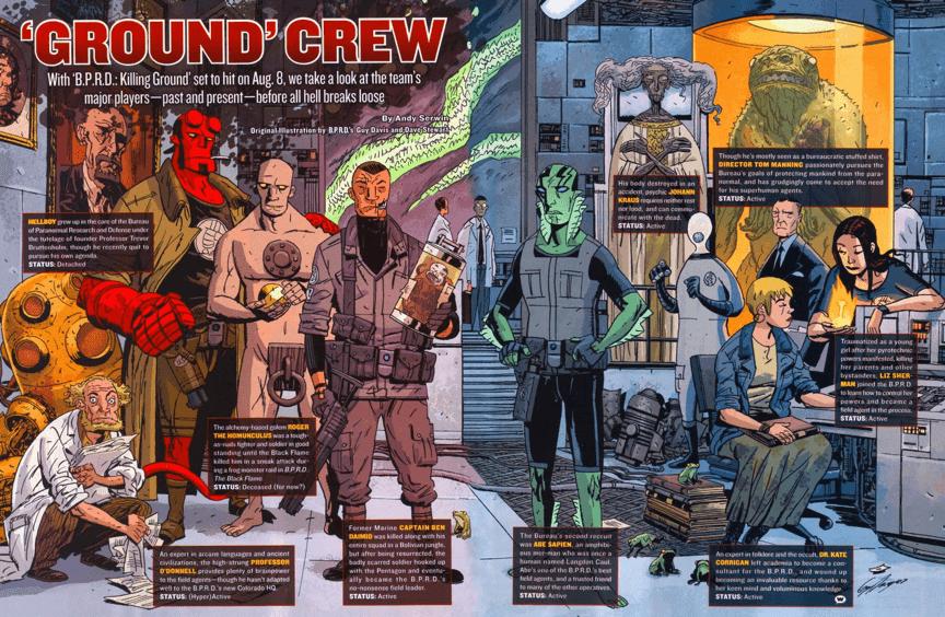 《 地獄怪客 》漫畫中的 B.P.R.D. 全員。