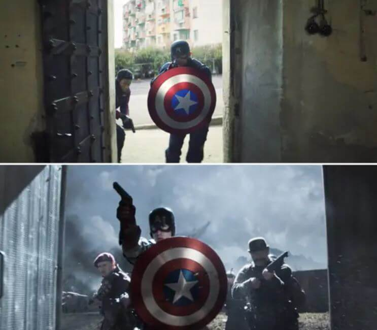 《獵鷹與酷寒戰士》中,約翰和他的朋友戰星闖進來時的畫面,致敬了《美國隊長》史提夫與咆嘯突擊隊突擊的畫面。