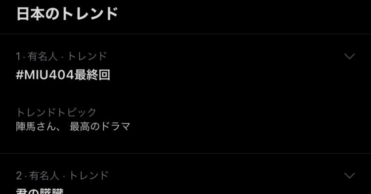 日劇《MIU404》於日本播出最終集時更竄上推特熱搜冠軍。