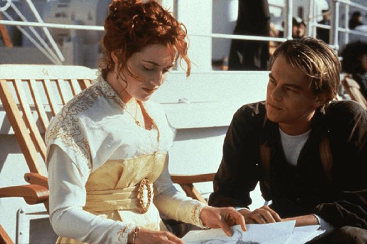 《鐵達尼號》凱特溫斯蕾與李奧納多。