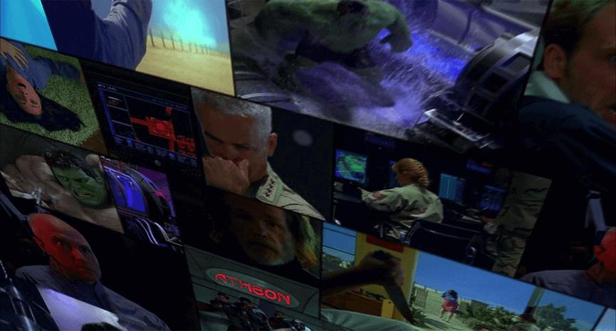 漫改電影 :《 綠巨人浩克 》中,模仿漫畫分格的畫面呈現效果。