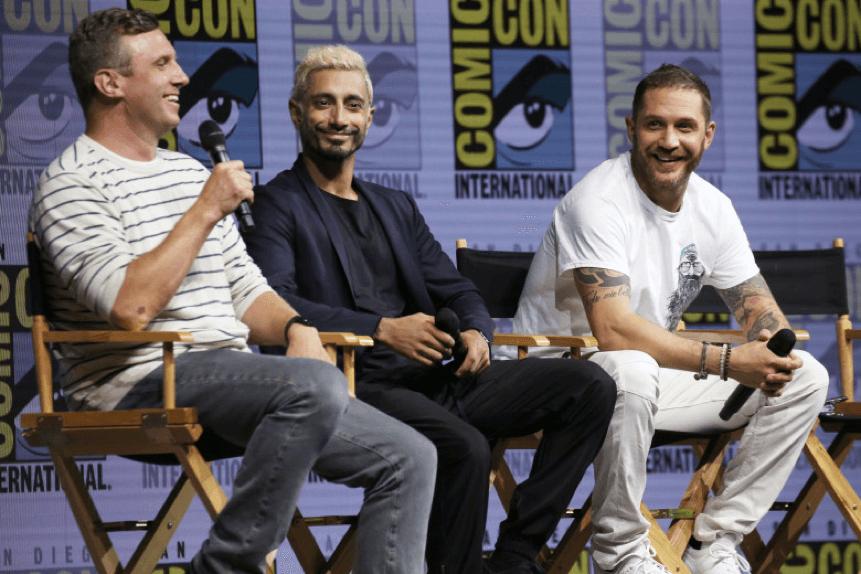 魯賓弗來舍 (左)、 里茲阿邁德 (中)、 湯姆哈迪 (右) 在 Comic-com 上的合影。