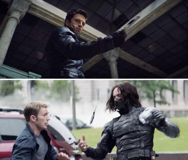 《獵鷹與酷寒戰士》巴奇甩小刀的畫面致敬了《美國隊長:酷寒戰士》。