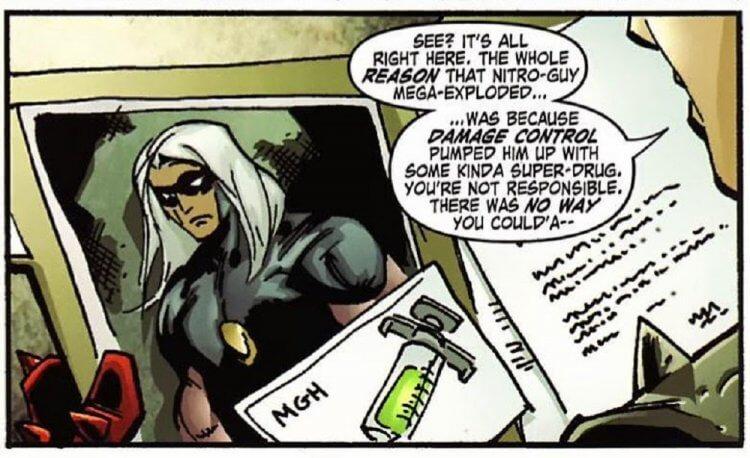 漫威漫畫中談論「硝基」爆炸的事件與 MGH 變種人生長激素有關。