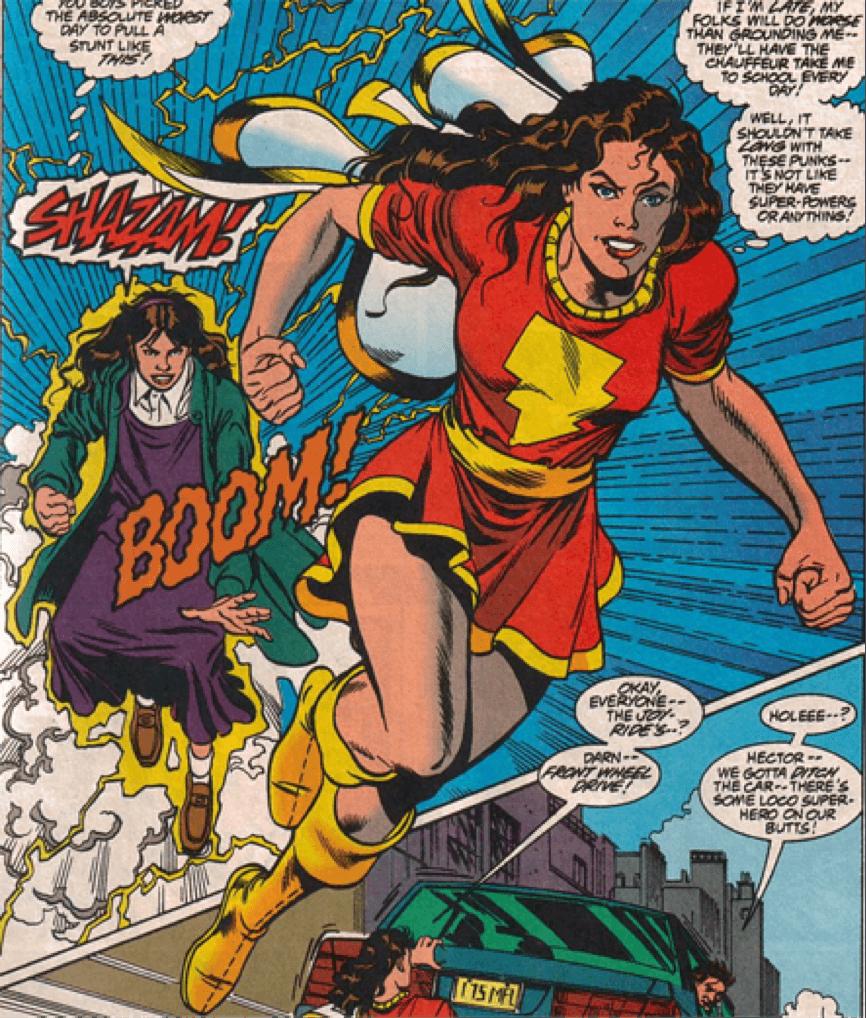 《沙贊!》的原作漫畫中,喊出神奇字眼「SHAZAM!」便能化身「驚奇瑪麗」的瑪麗,她是比利貝特森未曾謀面的雙胞胎姊妹。