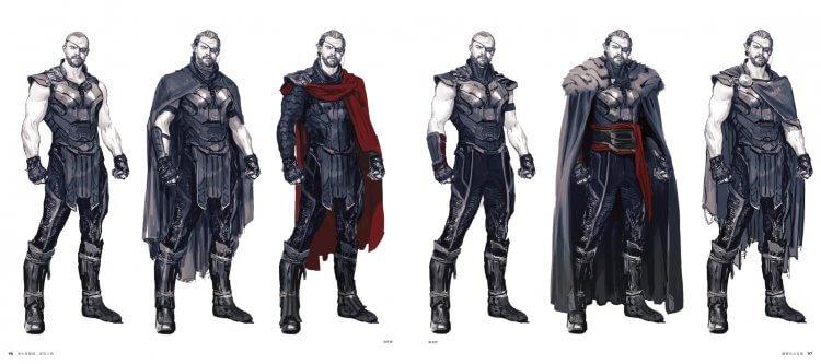《復仇者聯盟 3:無限之戰》 電影美術設定集中,索爾的各種造型嘗試。