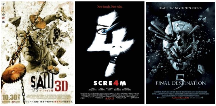 《奪魂鋸》(Saw) 、《絕命終結站》(Final Destination) 以及《驚聲尖叫》(Scream) 皆為砍殺類的恐怖電影。