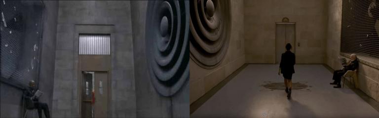 《MIB星際戰警:跨國行動》預告中「探員M」泰莎湯普森走進 MIB 總部場景跟舊作相同。