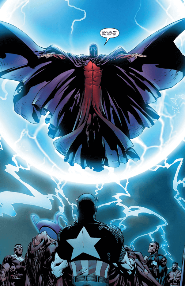 漫威漫畫中,身心俱疲的緋紅女巫汪達被生父萬磁王帶走,托給 X 教授進行腦部治療,盼能恢復以往。