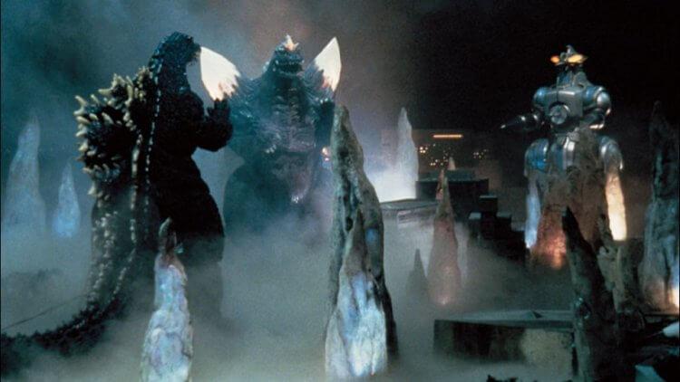 1994 年東寶特攝怪獸電影《哥吉拉 vs 太空哥吉拉》中的哥吉拉、太空哥吉拉、以及摩傑拉 (MOGERA)。