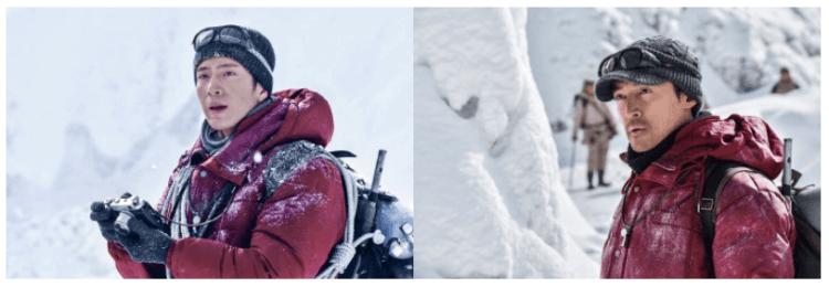 現已全面數位上架供線上看的電影《攀登者》片中,井柏然飾演攝影師,胡歌飾演隊員楊光。