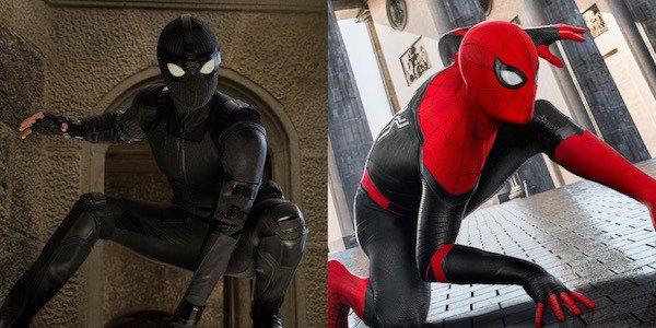 《蜘蛛人:離家日》裡湯姆霍蘭德 (Tom Holland) 的全黑蜘蛛人裝。