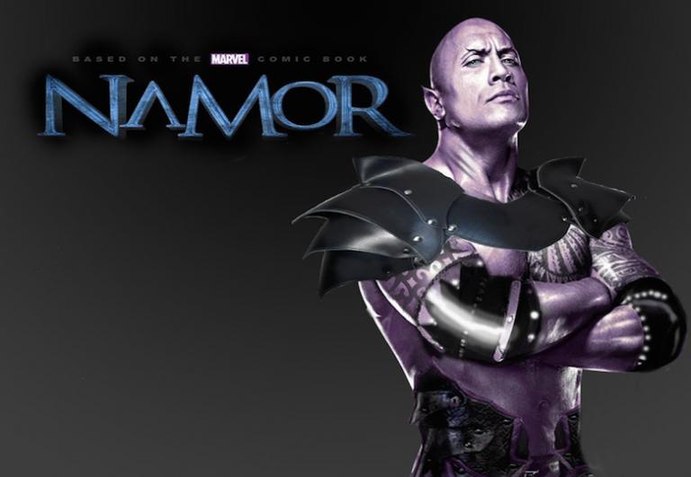 粉絲製作巨石強森飾演「海王子」納摩合成圖。