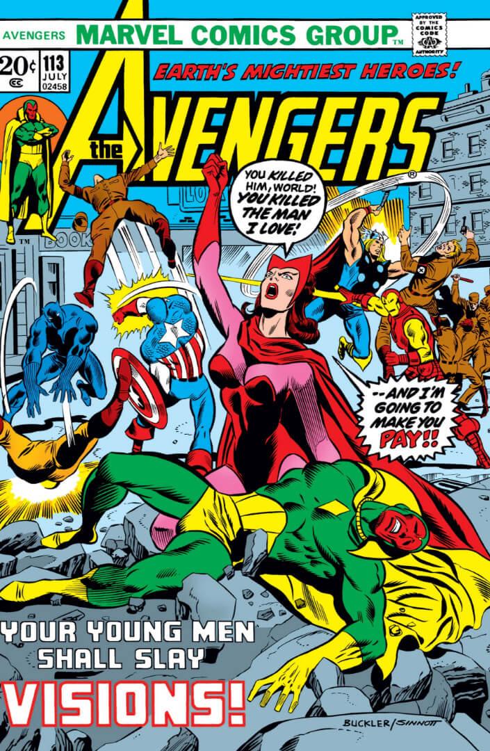 《復仇者聯盟》漫畫 113 期幻視死亡,緋紅女巫誓言復仇的漫畫封面。