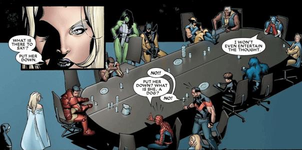 漫威漫畫《House of M》當中,緋紅女巫暴走影響現實世界,復仇者聯盟與 X 戰警皆束手無策。
