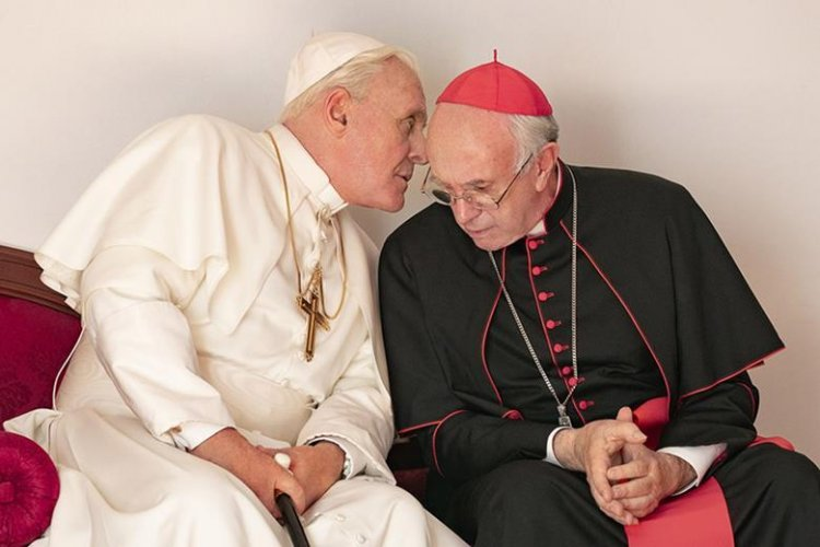 《教宗的繼承》的強納森普萊斯(Jonathan Pryce) 以及安東尼霍普金斯 (Anthony Hopkins)