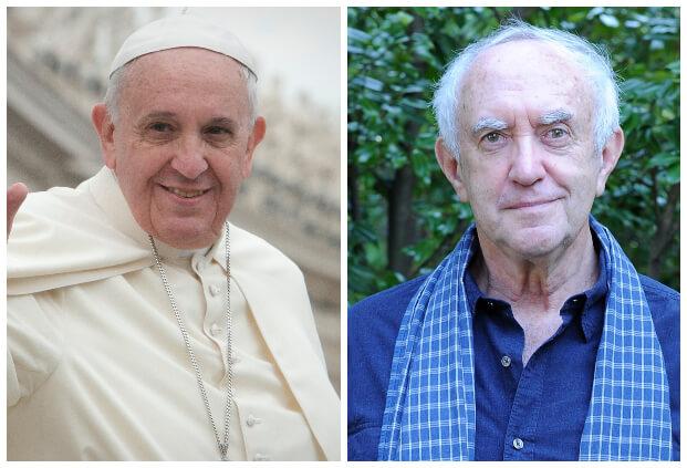 改編自真實事件的 Netflix 原創電影《教宗的繼承》中,真實的現任教宗與在片中詮釋他的強納森普萊斯。