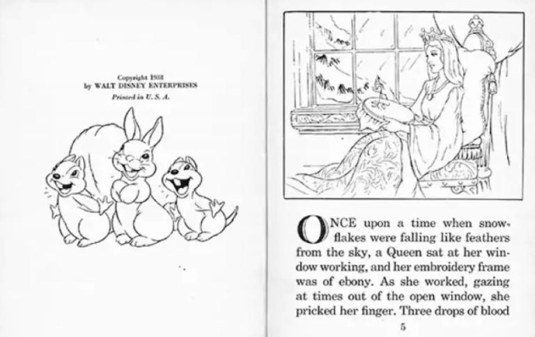 「很久很久以前......」日後迪士尼《白雪公主》故事書裡便看見了母親這樣角色的身影。