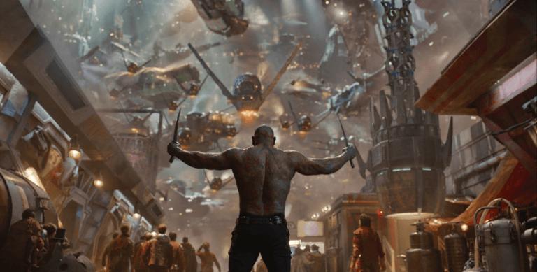 漫威超級英雄電影《星際異攻隊》劇照,圖為巴帝斯塔飾演的毀滅者德克斯。