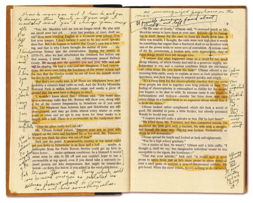 庫柏力克 曾在 史蒂芬金 的小說《 鬼店 》空白處寫下密密麻麻的想法。