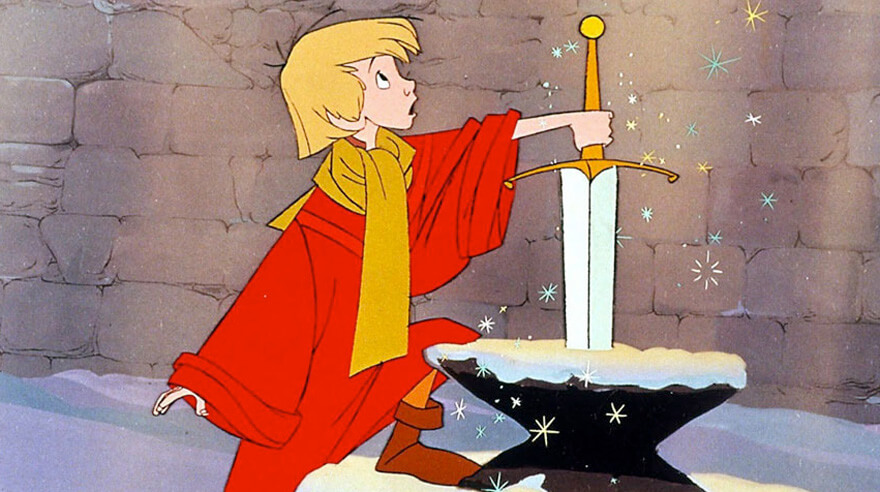 迪士尼經典動畫《石中劍》。