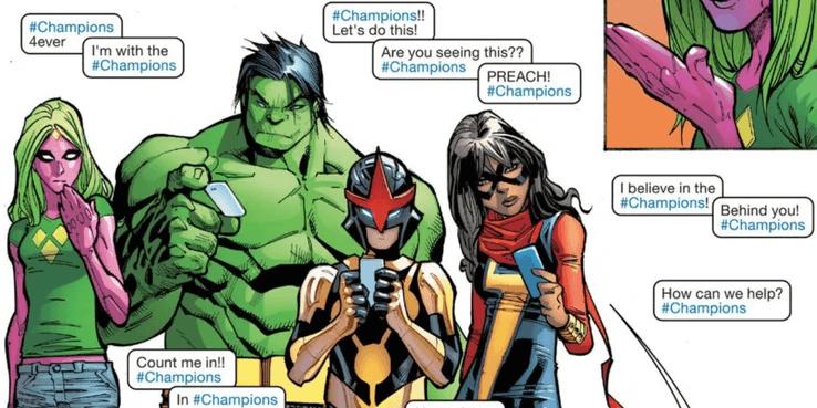 漫威漫畫中的「驚奇女士」日後屬於「復仇者聯盟」分支「冠軍小隊」的一員。