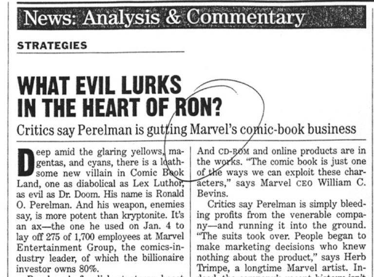 1996 年漫威公司申請破產,並陸續出售旗下諸多作品角色的電影翻拍版權。