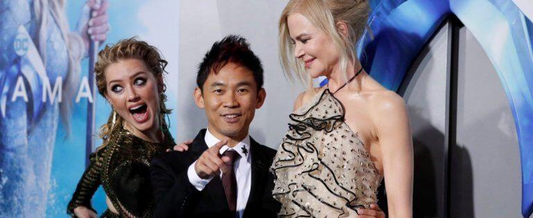 溫子仁與水行俠兩位女演員:安柏赫德與妮可基嫚