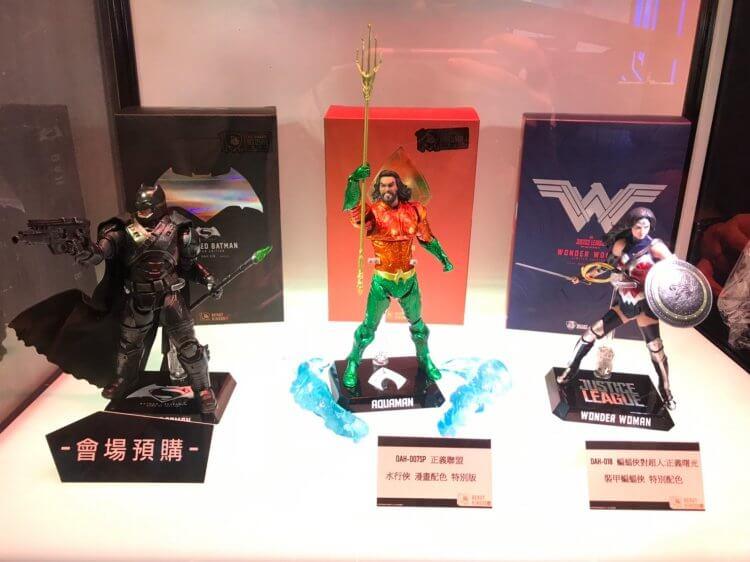 2019 世貿一館電影玩具展活動中,DC 擴展宇宙的電影明星:蝙蝠俠、水行俠以及神力女超人比例模型公仔都有展售。
