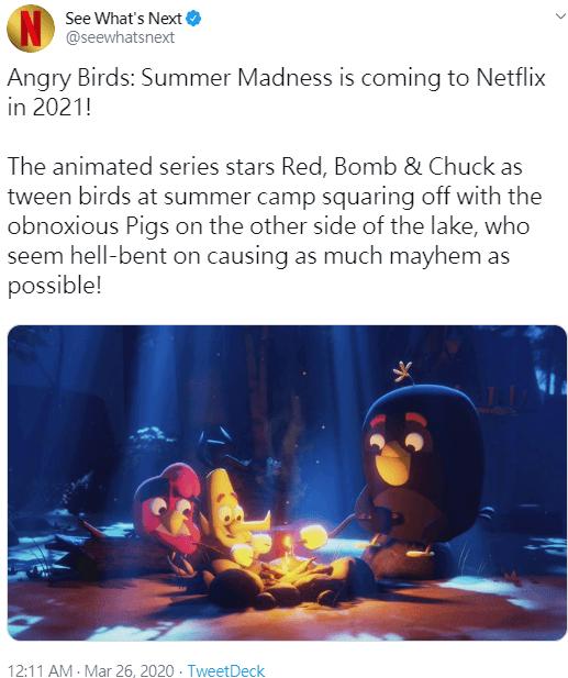 Netflix 官方推特「See What's Next」宣布將在明年推出《憤怒鳥:瘋狂暑假》。