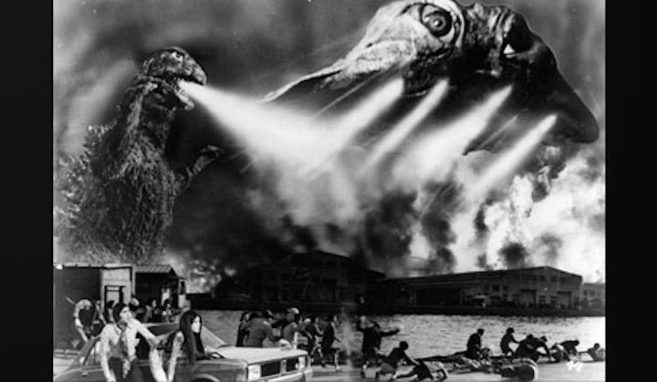 東寶經典怪獸特攝片《哥吉拉對黑多拉》劇照。