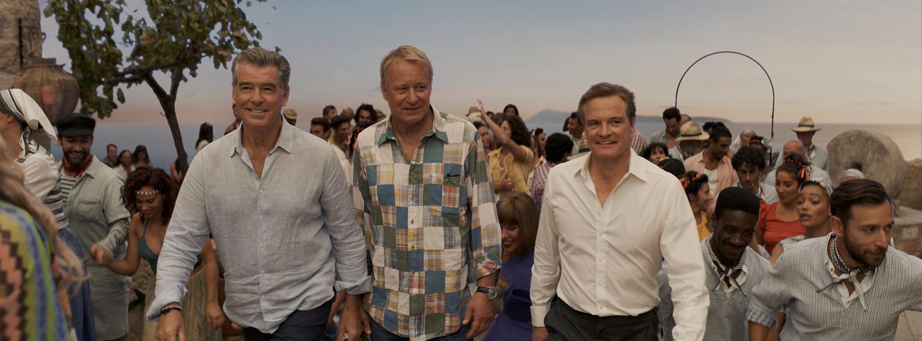 唐娜生命中的三個男人, 分別為 皮爾斯布洛斯南, 史戴倫史柯斯嘉, 科林佛斯