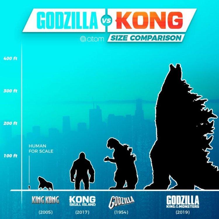 哥吉拉與金剛在不同電影裡的尺寸設定。
