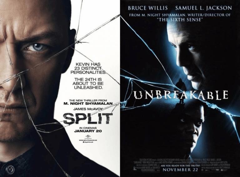 奈沙馬蘭驚悚超級英雄三部曲的錢兩部:《驚心動魄》(Unbreakable)、《分裂》(Split) 電影海報。