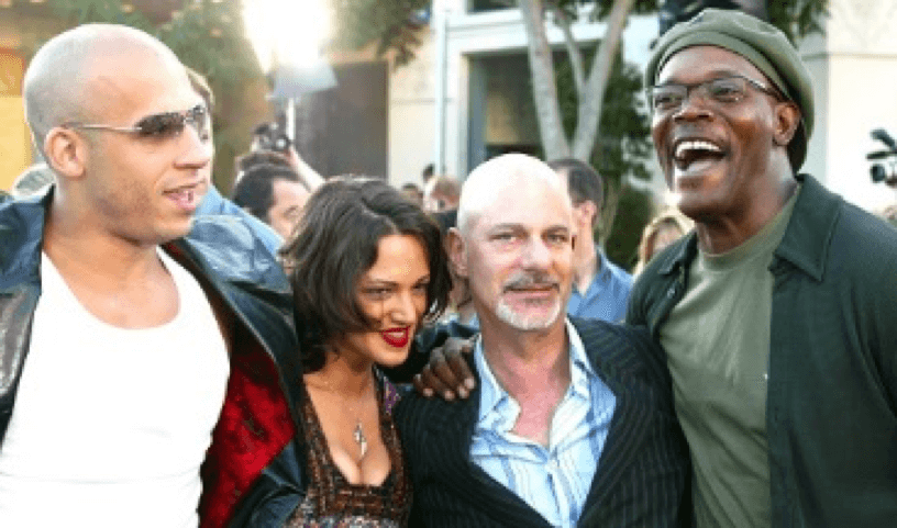 《 限制級戰警 》: 馮迪索 (左一)、女主角 阿西亞阿嘉托 (左二)、 導演 羅伯柯恩 (右二)、 媽惹法克 (右一)