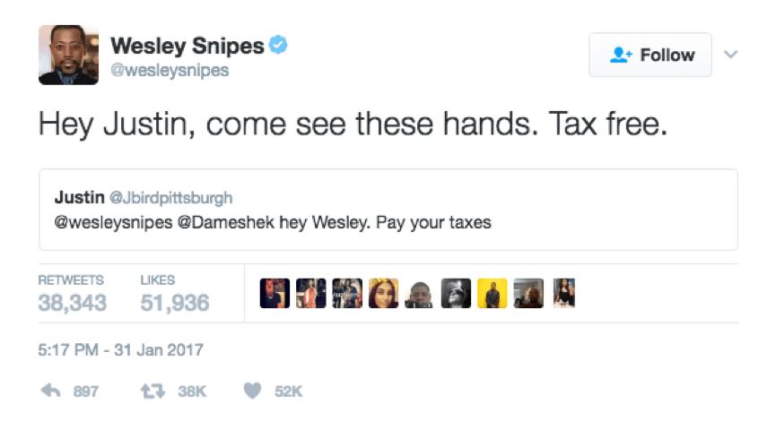 衛斯理史奈普 在推特上回嘴嗆他的酸民