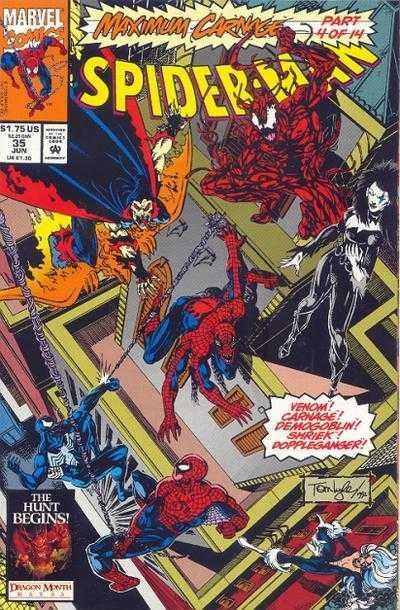 原著漫畫〈 極限大屠殺 〉篇章中的 屠殺 正遭受蜘蛛人等角色的追捕。