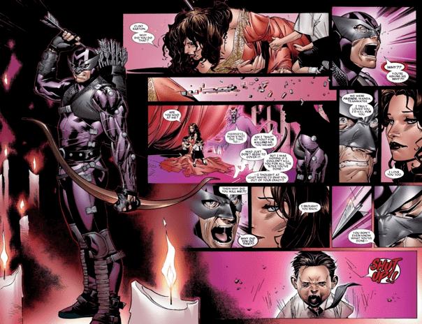 漫威漫畫《House of M》中原本應該死去的鷹眼攻擊緋紅女巫,責問為何使用能力扭轉現實,讓鷹眼復活,但後續發展令人鼻酸。