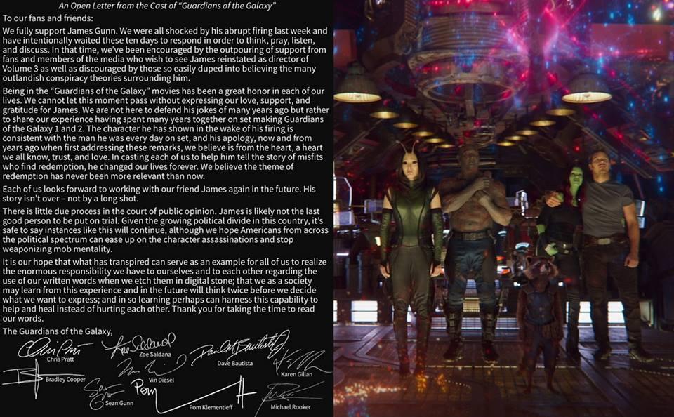 《星際異攻隊》參演陣容曾發表聯合聲明,力挺詹姆斯岡恩繼續擔任《星際異攻隊 3》電影導演。