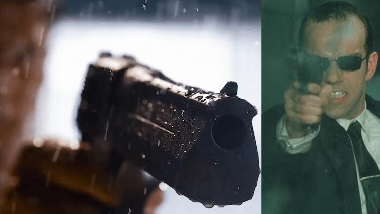 電腦探員最愛的沙漠之鷹:《駭客任務:復活》預告(左)、《駭客任務》(右)