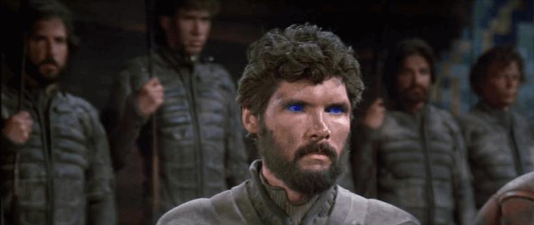 《沙丘魔堡》故事中,人們爭相尋求香料,而長年受香料影響的弗瑞曼人雙眼則帶有藍眼白。