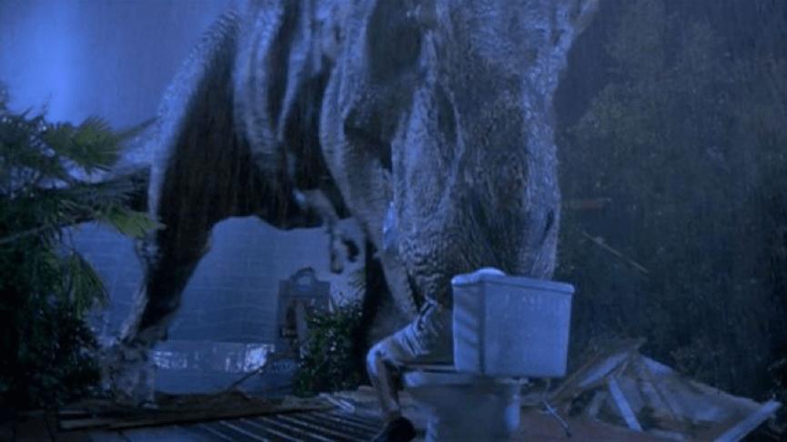 傑夫高布倫 《 侏羅紀公園 》系列電影中,令人印象深刻的一幕。