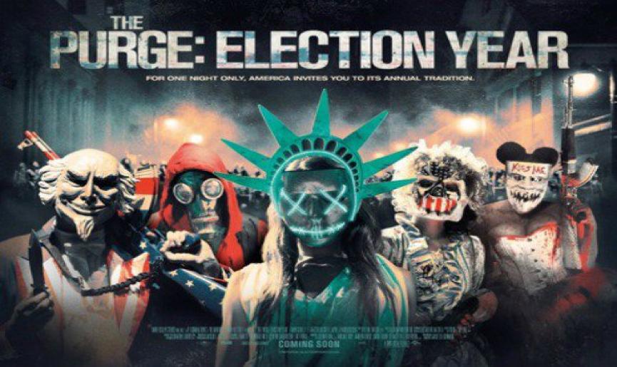 川普 當選 美國總統 的2016年,片商也推出了針貶時下政局的《 國定殺戮日 : 大選之年 》(The Purge: Election Year) 電影。