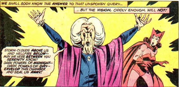 漫威漫畫中,加入復仇者聯盟的汪達跟隨阿嘉莎女巫學習巫術,漸漸懂得操控混沌魔法,正式成為「緋紅女巫」。
