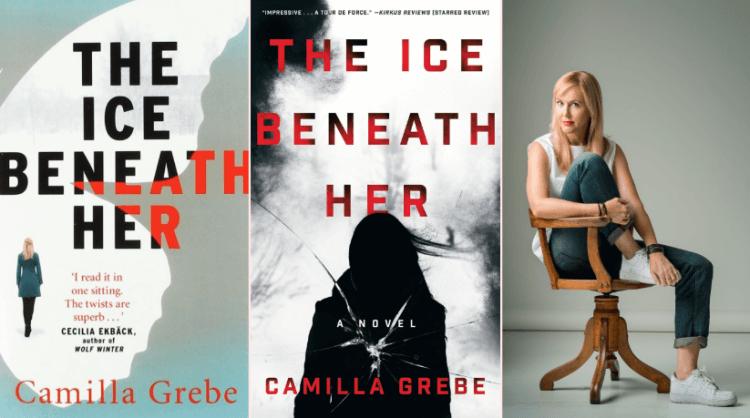 《冰上的她》小說封面與卡蜜拉格里柏本人。