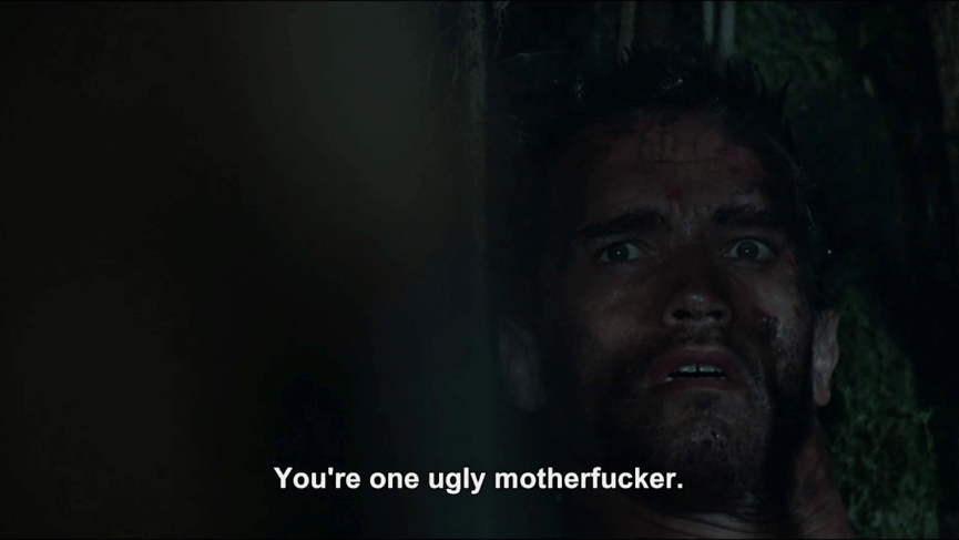 終極戰士 面具下的樣貌,令 阿諾 都忍不住罵髒話。