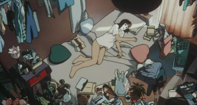 今敏動畫電影《藍色恐懼》中女主角未麻的房間。
