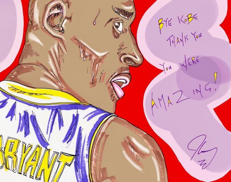 金凱瑞藉由繪畫緬懷日前驟世的前 NBA 巨星科比布萊恩 (Kobe Bryant)。
