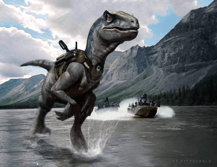 《侏羅紀公園 4》中原本將會有恐龍武裝部隊的搶灘激戰畫面。